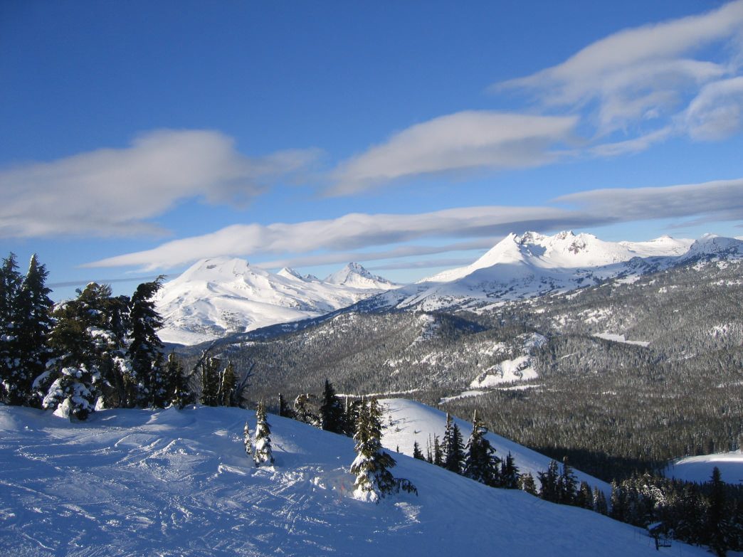 View of the Three Sisters and Broken Top from a ski lift on Mount Bachelor.