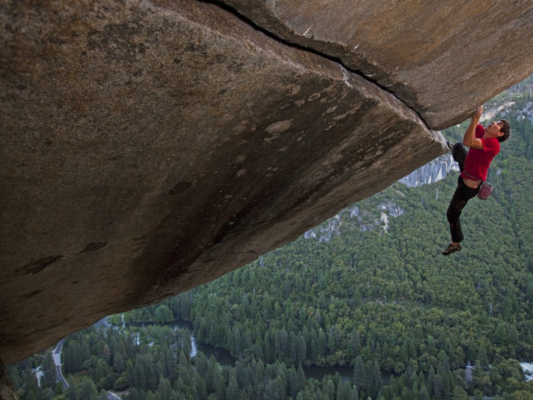 Alex Honnold's new book tells the stories behind his biggest climbs around the world, like this rope-less ascent of Seperate Reality in Yosemite Valley.