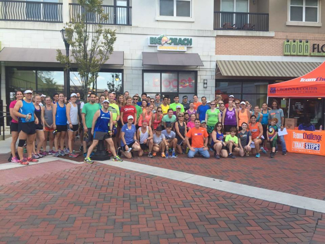 The group run outside Big Peach Running Co.'s Brookhaven store.