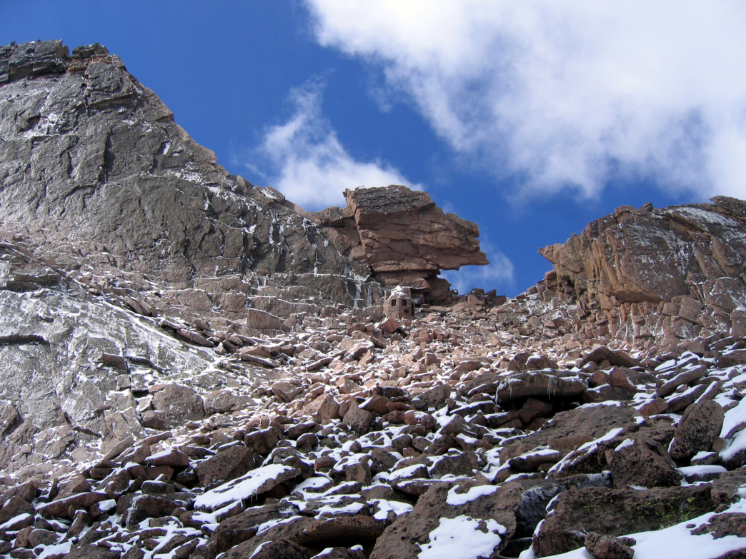 The Keyhole Route before transitioning to the class 3 scrambling on Longs Peak. Note the shelter at the base of the notch