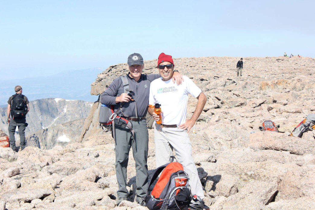 Nick Cerretani (left) on the summit of 14,255 foot Longs Peak.     Courtesy of Nick Cerretani