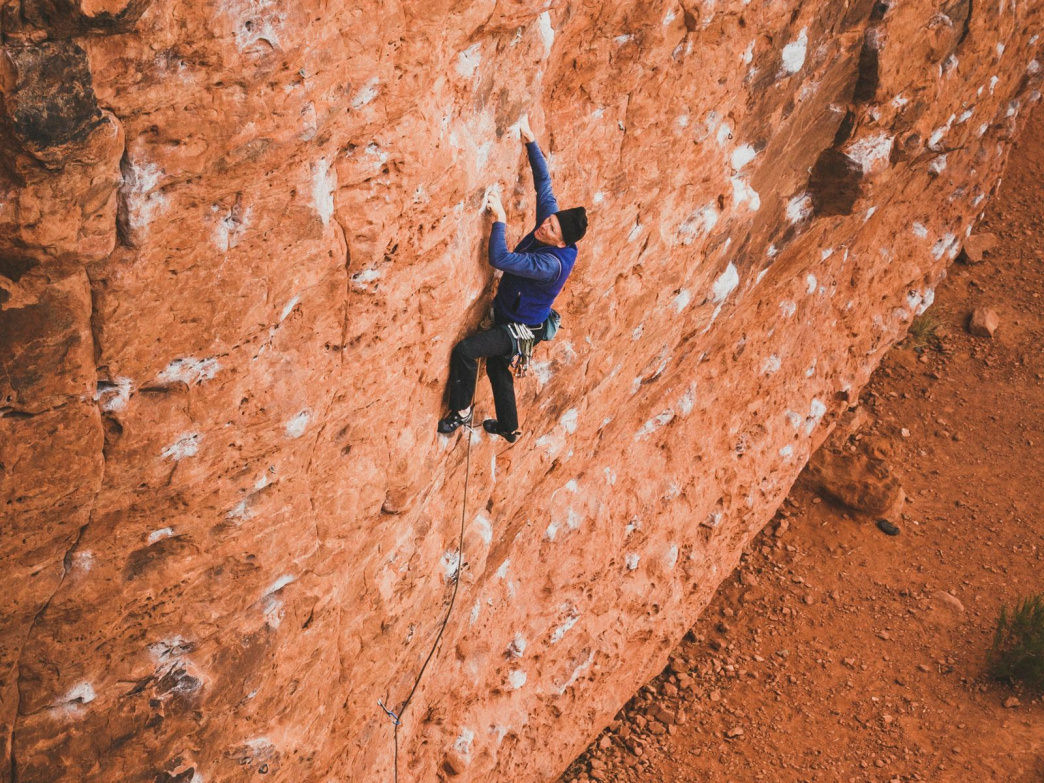 Paul Shilton climbing at Chuckawalla.