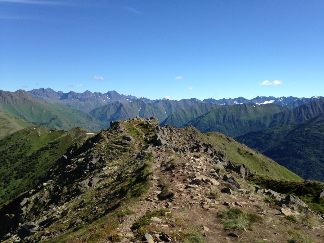 Trekking up Bird Ridge outside of Anchorage, Alaska. Tristan Olson