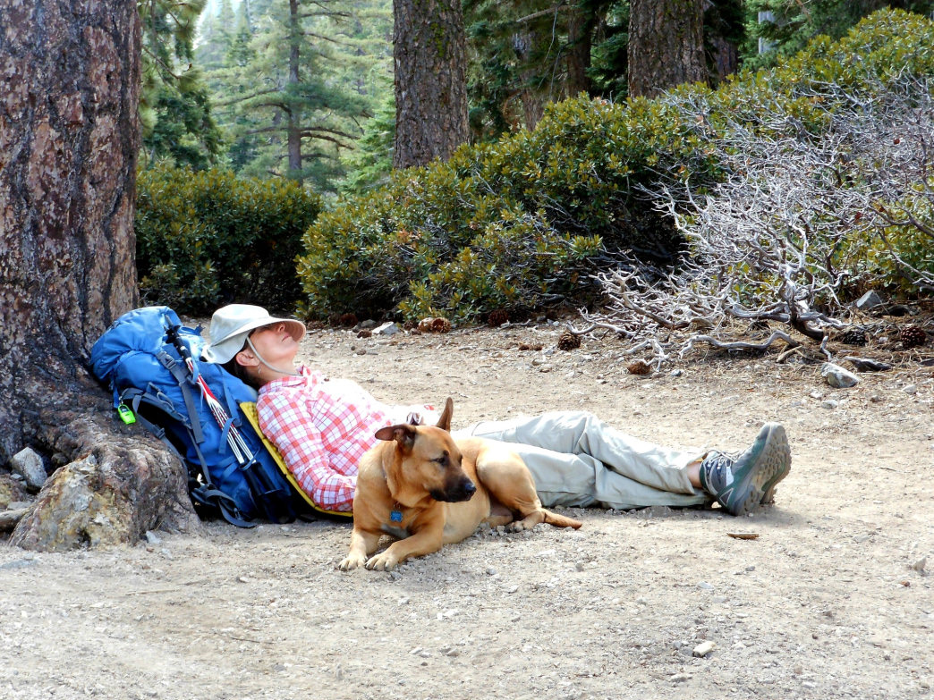 Enjoying a short siesta during a thru-hike through Southern California's Angeles National Forest.