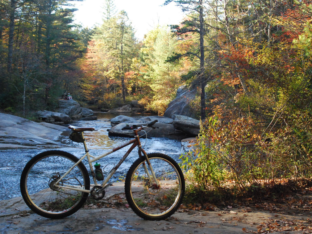 Corn Mill Shoals Trail is a great place to mountain bike.
