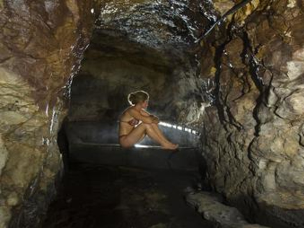 A guest relaxes in the vapor cave at Wiesbaden.