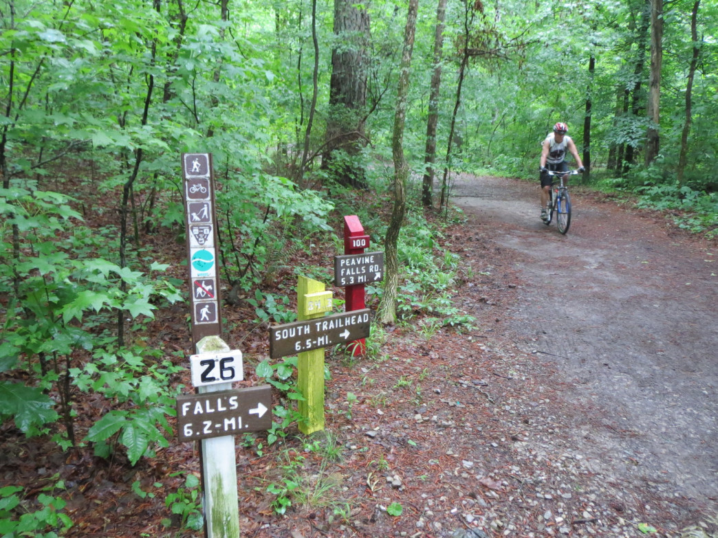 A mountain biker races down the Red Trail at Oak Mountain State Park which is maintained by the Birmingham Urban Mountain Pedelars (BUMP).