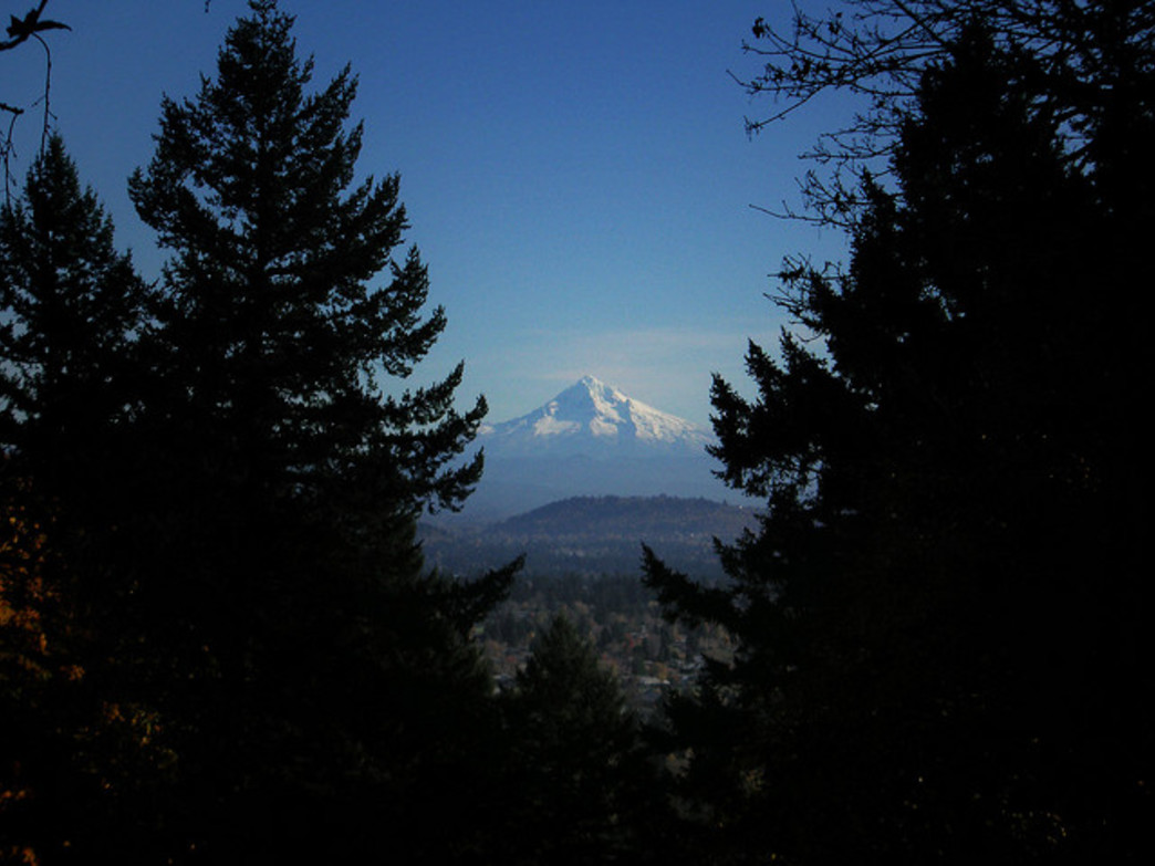 Hikers are treated to stunning views of Mount Hood from Portland's Mount Tabor.