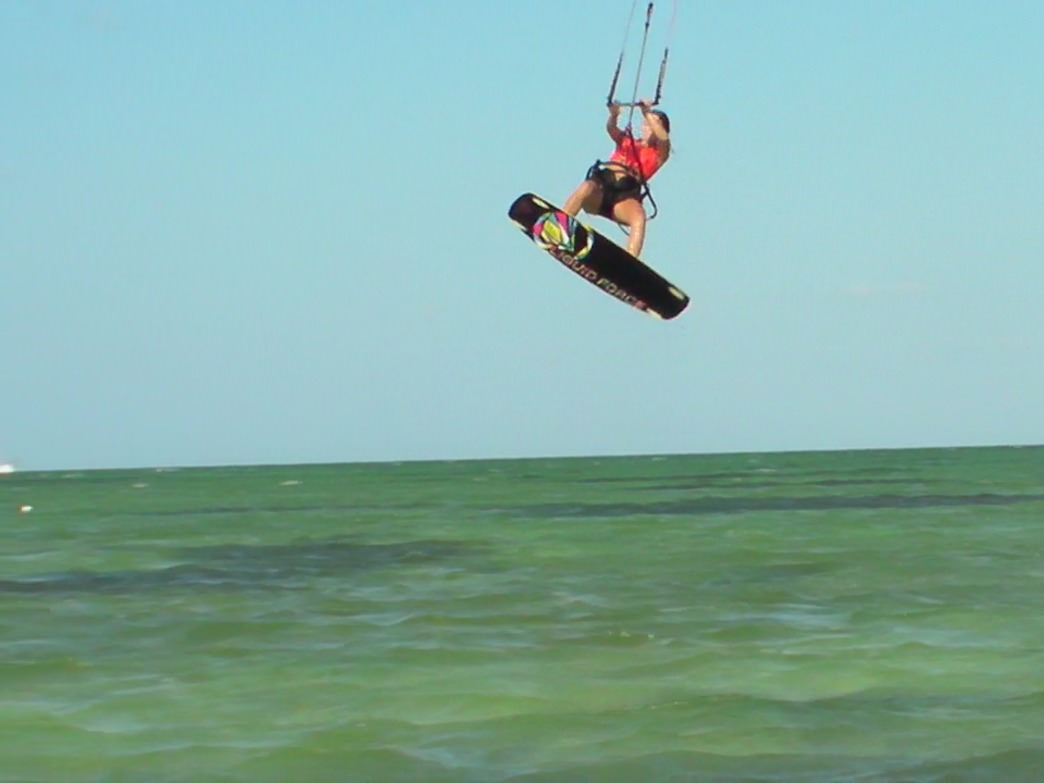 Sponsored kiteboarder Emily Collins getting some air in Charleston