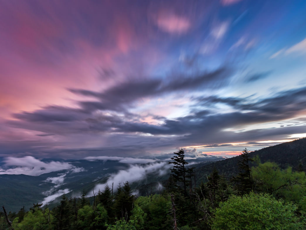 Hike to Clingmans Dome for a 360 degree sunset or sunrise at the highest point in the Smokies.