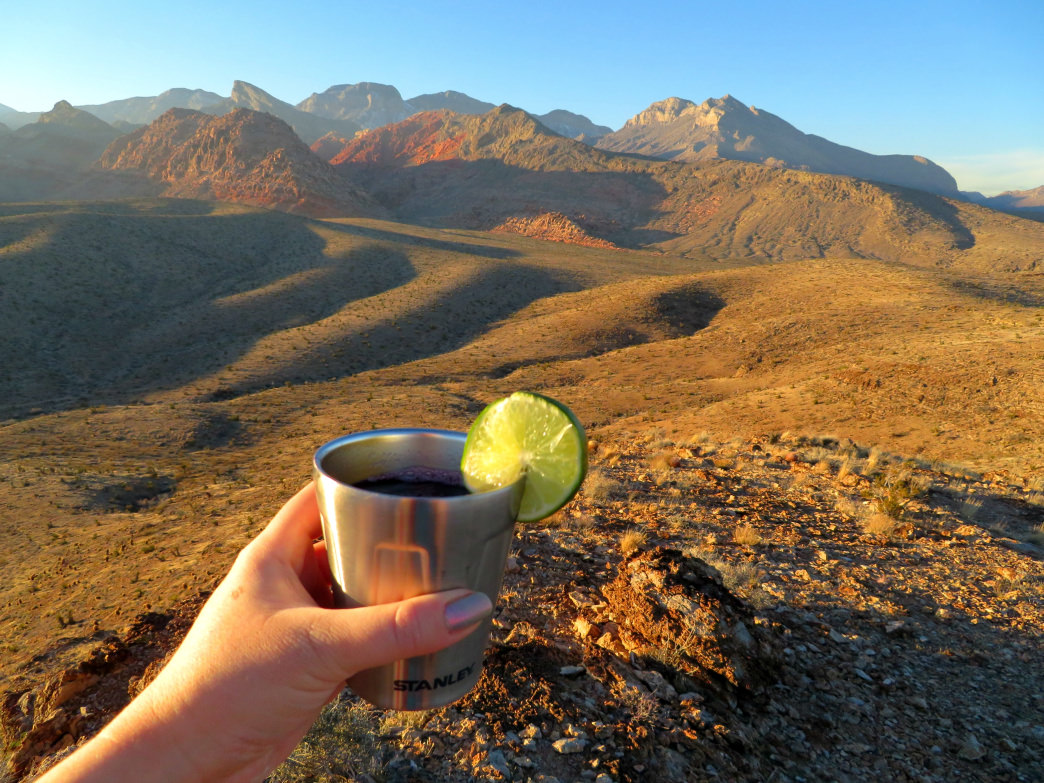 Toasting to your backcountry booze of choice.