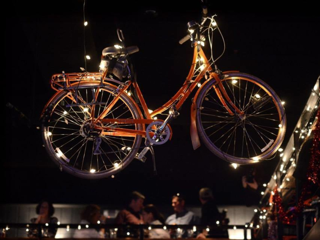 An illuminated bicycle lights up Bike Love