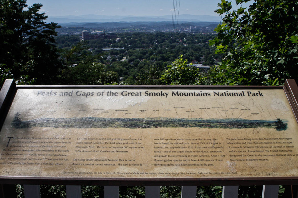 The overlook at Sharp's Ridge offers a guide to the peaks and gaps in the distant Smoky Mountains.     Clay Duda