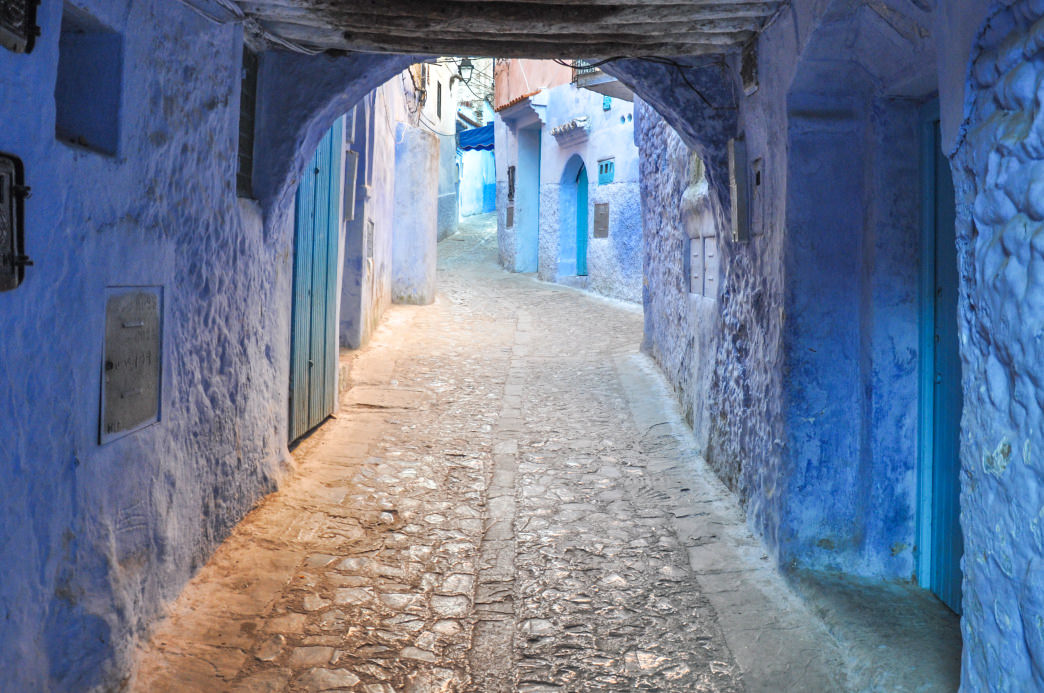 The blue-infused city of Chefchaouen is a scenic delight.      Julia Rogers
