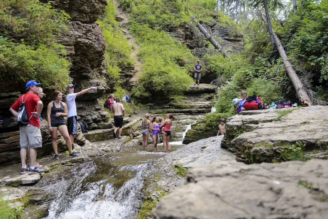 Adventurous hikers who can find the unmarked trail for the Devil's Bathtub are rewarded with a great place to cool off on a hot summer day.