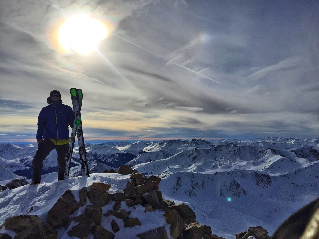 Kedrowski kicked off his 14er skiing project by summiting Mount Elbert, Colorado's highest peak, on January 4, 2016.