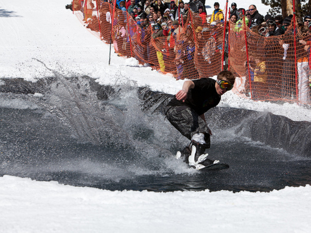 Pond skimming is just one of the many unconventional activities on tap in Jackson Hole during the winter and early spring months.