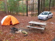 A tent campsite at Shame-Crowell