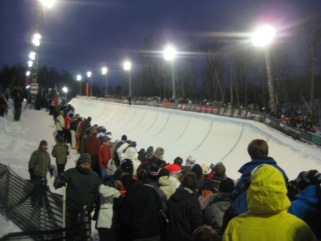 Half-pipe competition during the tour stop at Mount Snow.
