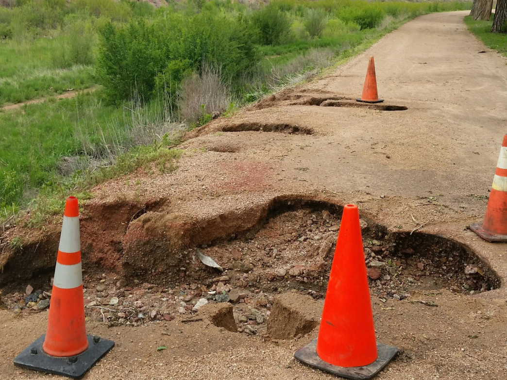 Keep your eyes open, even in lesser-damaged areas like Monument Valley Park. Most holes aren't coned.