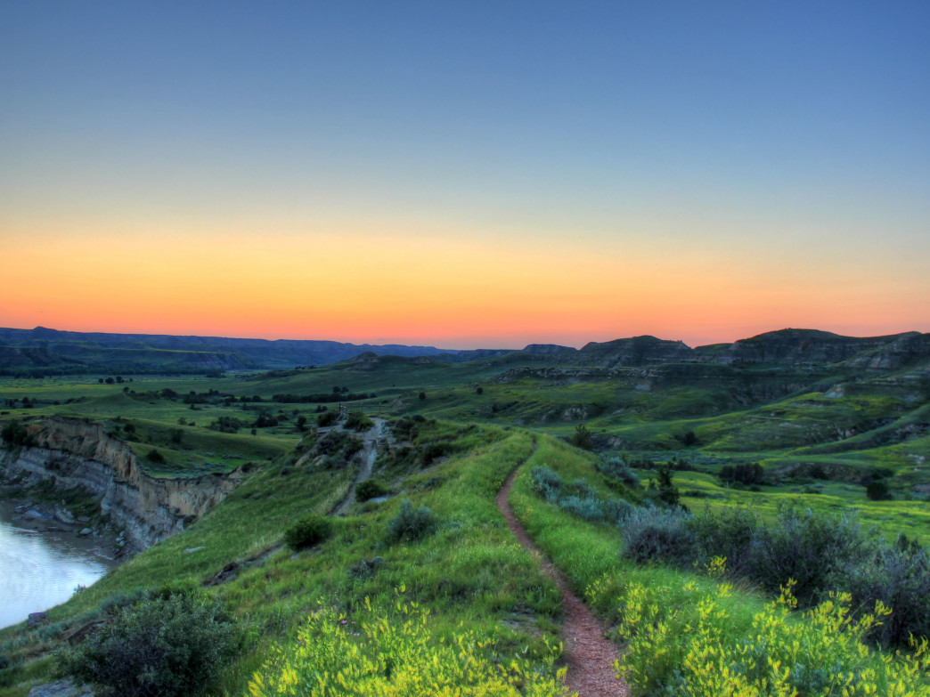 Sunset over Theodore Roosevelt National Park.