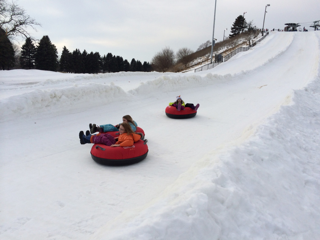 The tubing hill at Villa Olivia can be fun for all ages.
