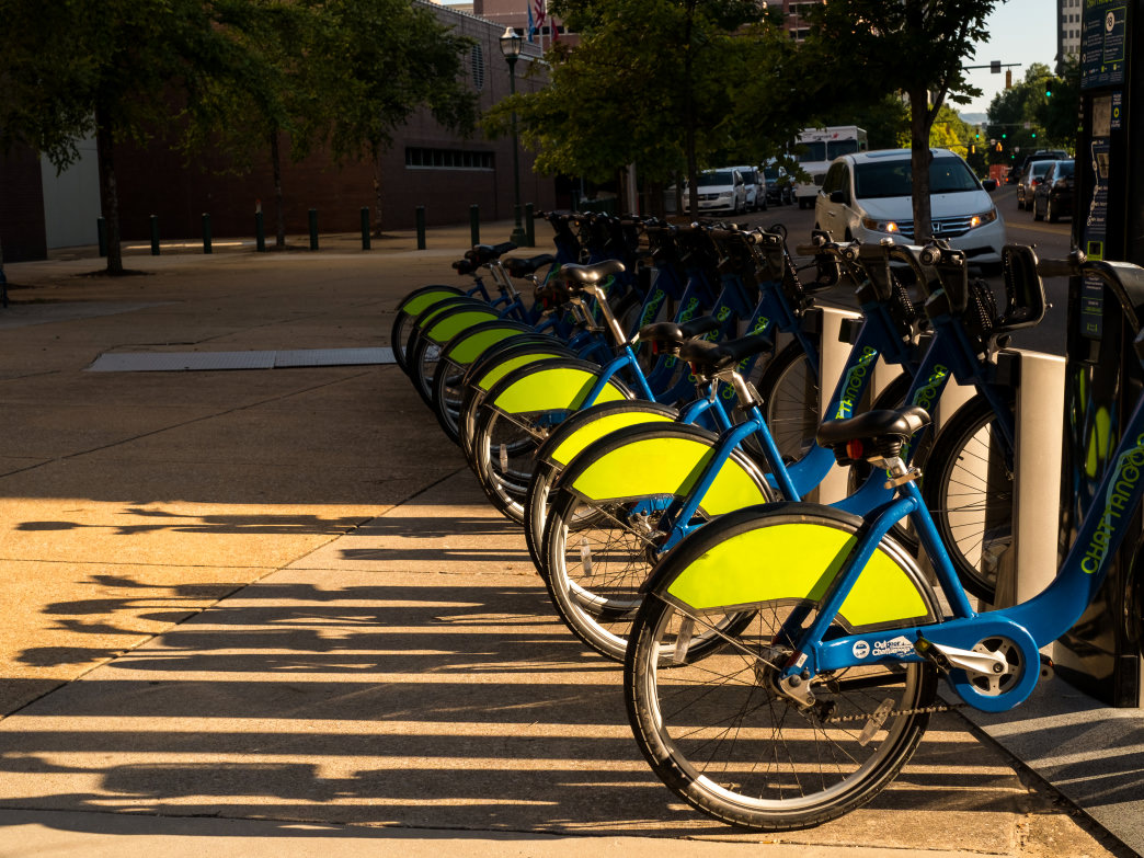 Chattanooga's Bicycle Transit System offers inexpensive rental bikes at 37 different docking stations all over the city.