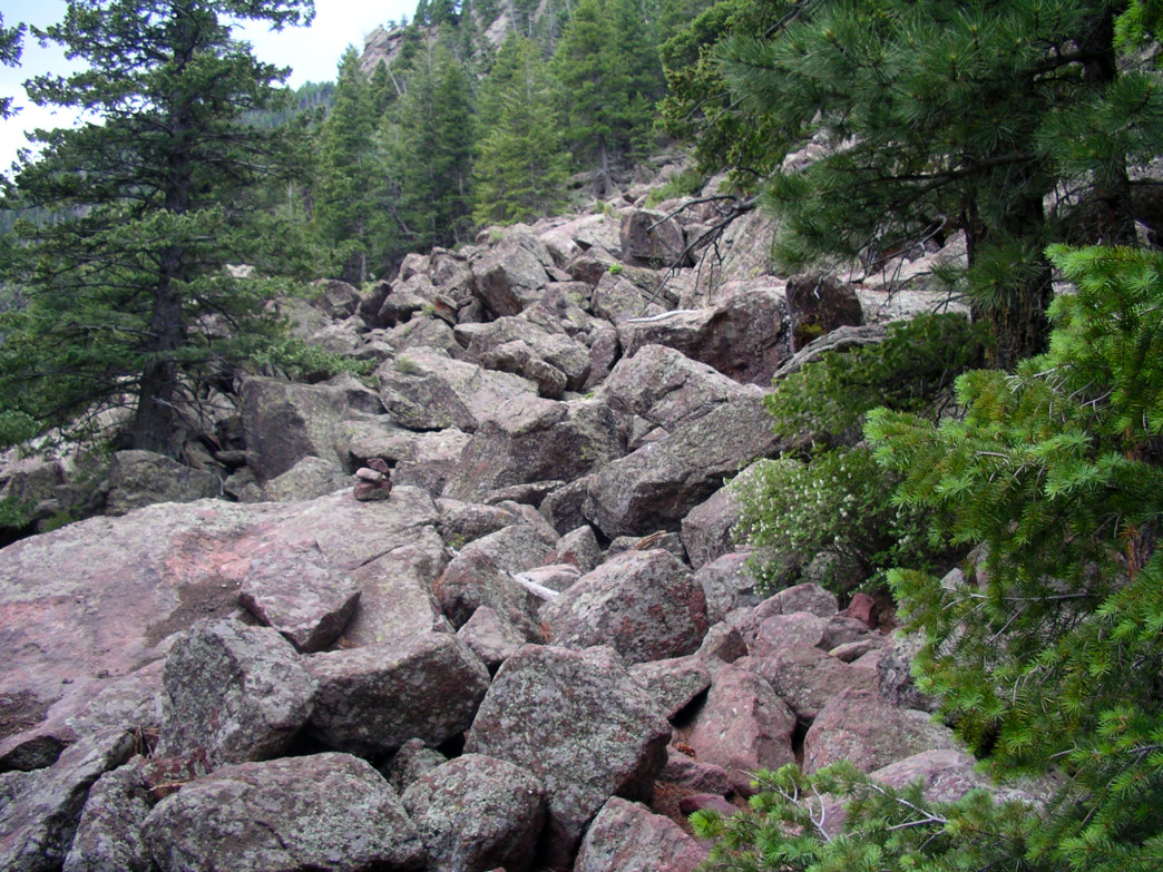 The trail down Shadow Canyon is very rocky and be challenging for many hikers.