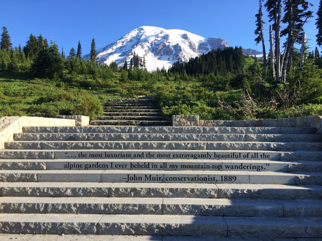 Mt. Rainier looms in the distance, beckoning many a climber.