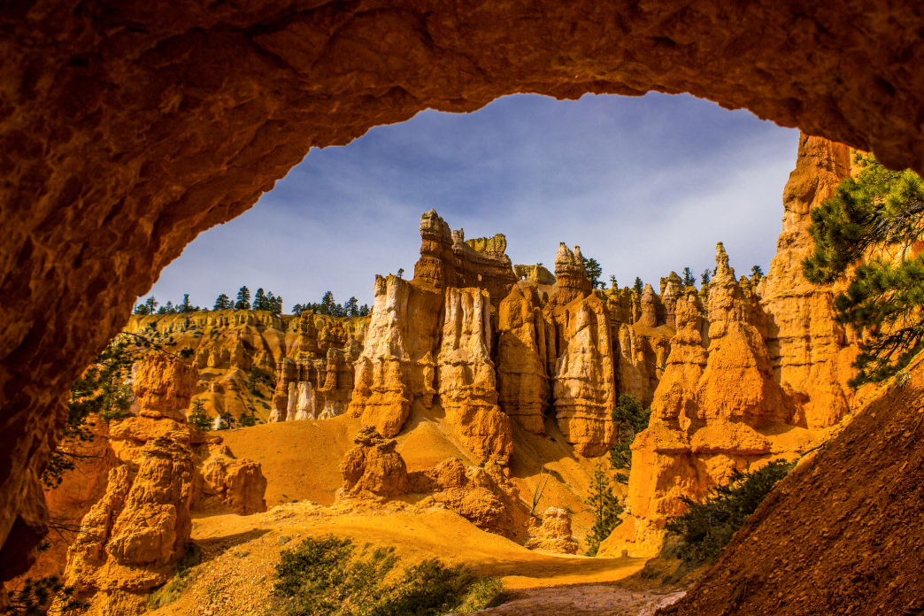 The rocks at Bryce Canyon glow yellow, orange and red and are best witnessed at sunrise.
