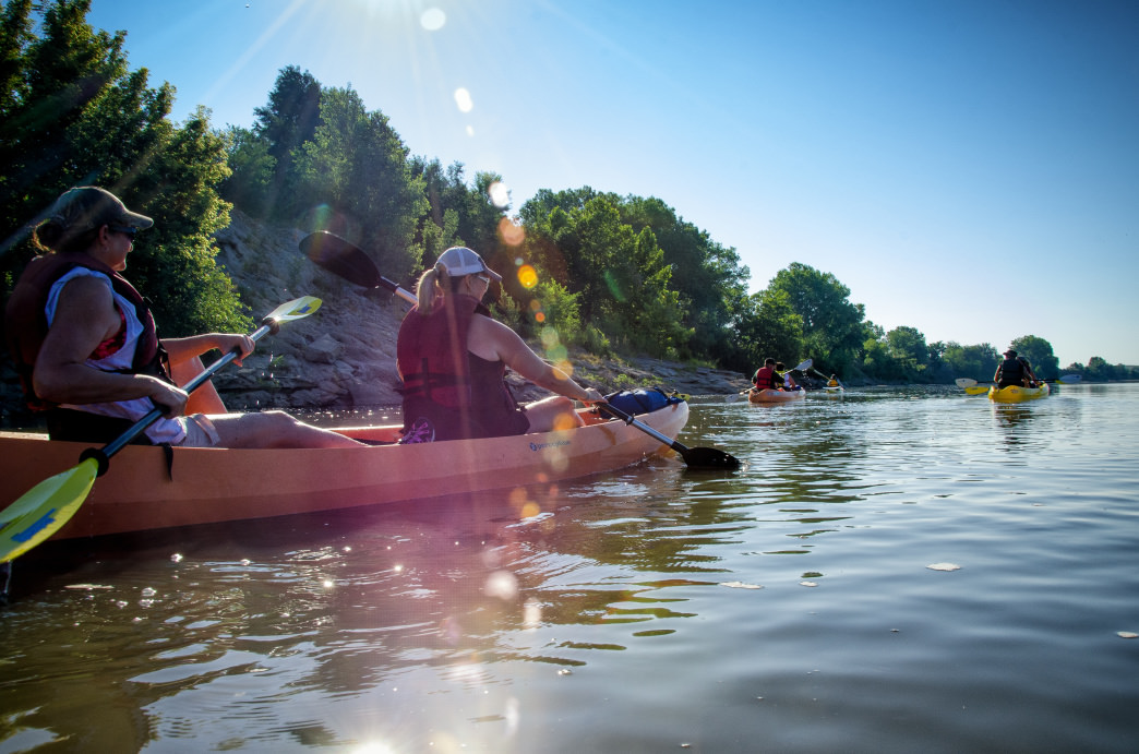The Kansas River, a National Water Trail, is the perfect waterway for a relaxing paddle trip—and you can even set up camp on one of the sandbars.