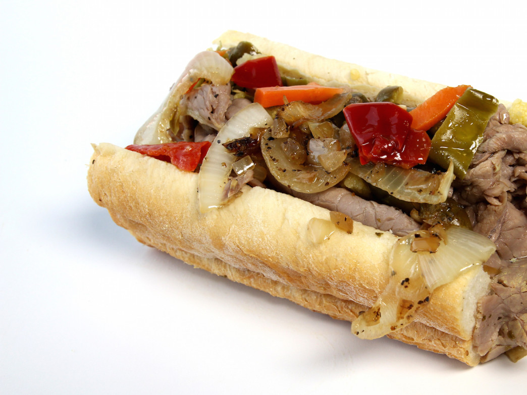 Jonniebeefs' Italian sandwich with hot peppers