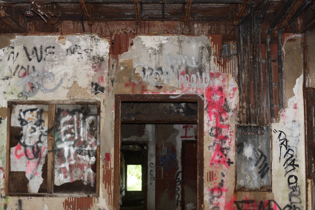 A view down the abandoned hallways of the Jemison Center.