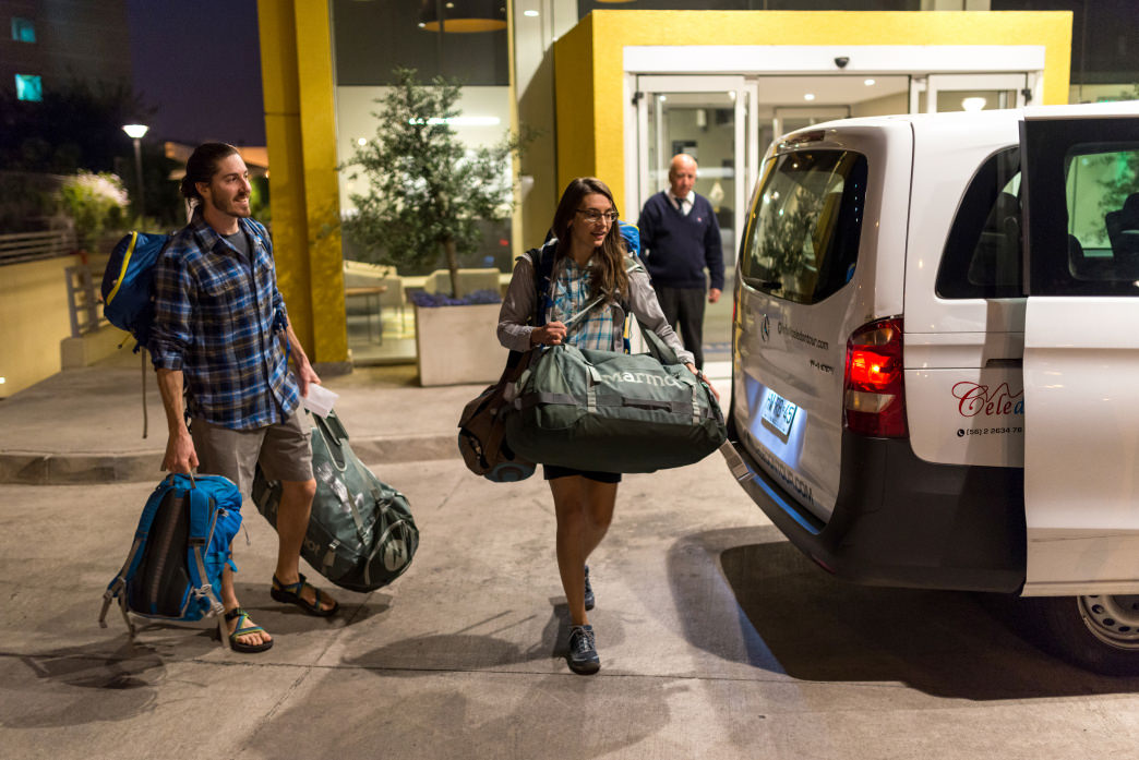 Dylan Jones and Samantha Larson loading up the airport shuttle at the hotel.