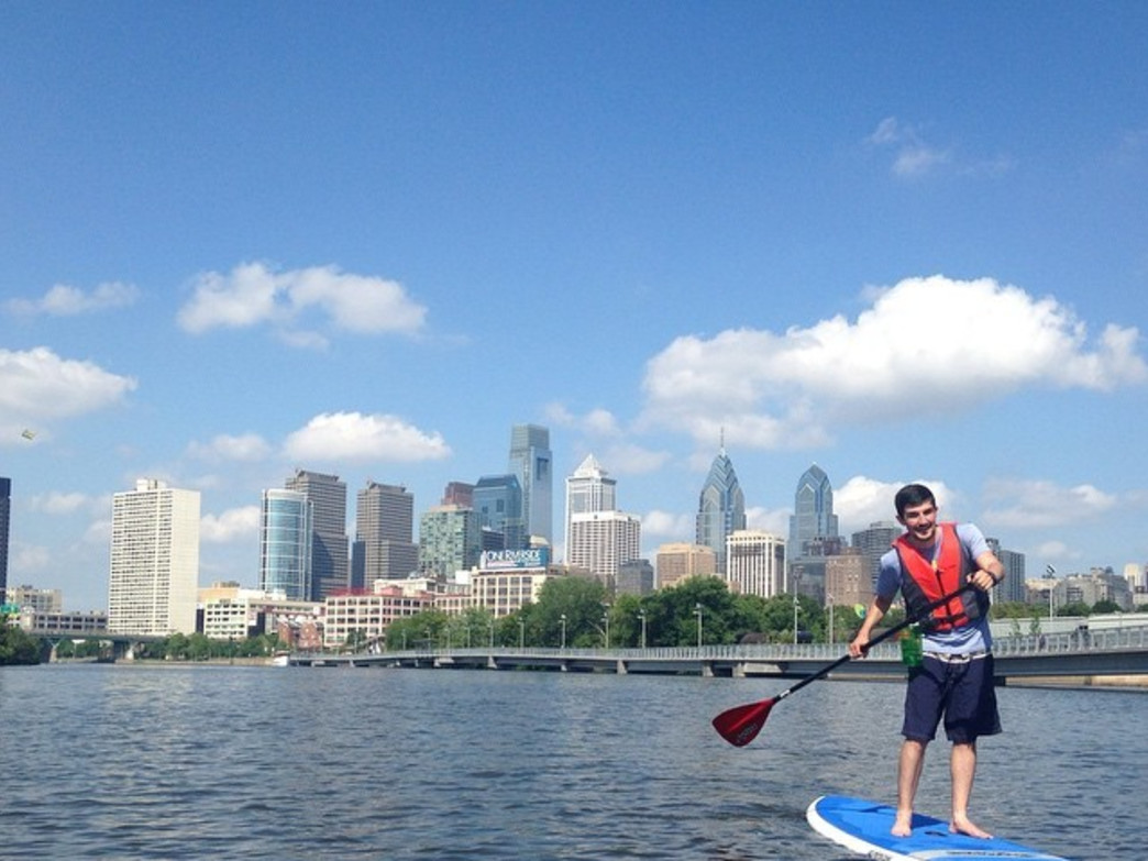The Philadelphia skyline from a stand-up paddleboard.