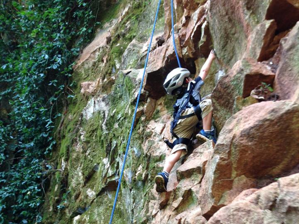 Benjy Darnell belaying his son on G-Thing