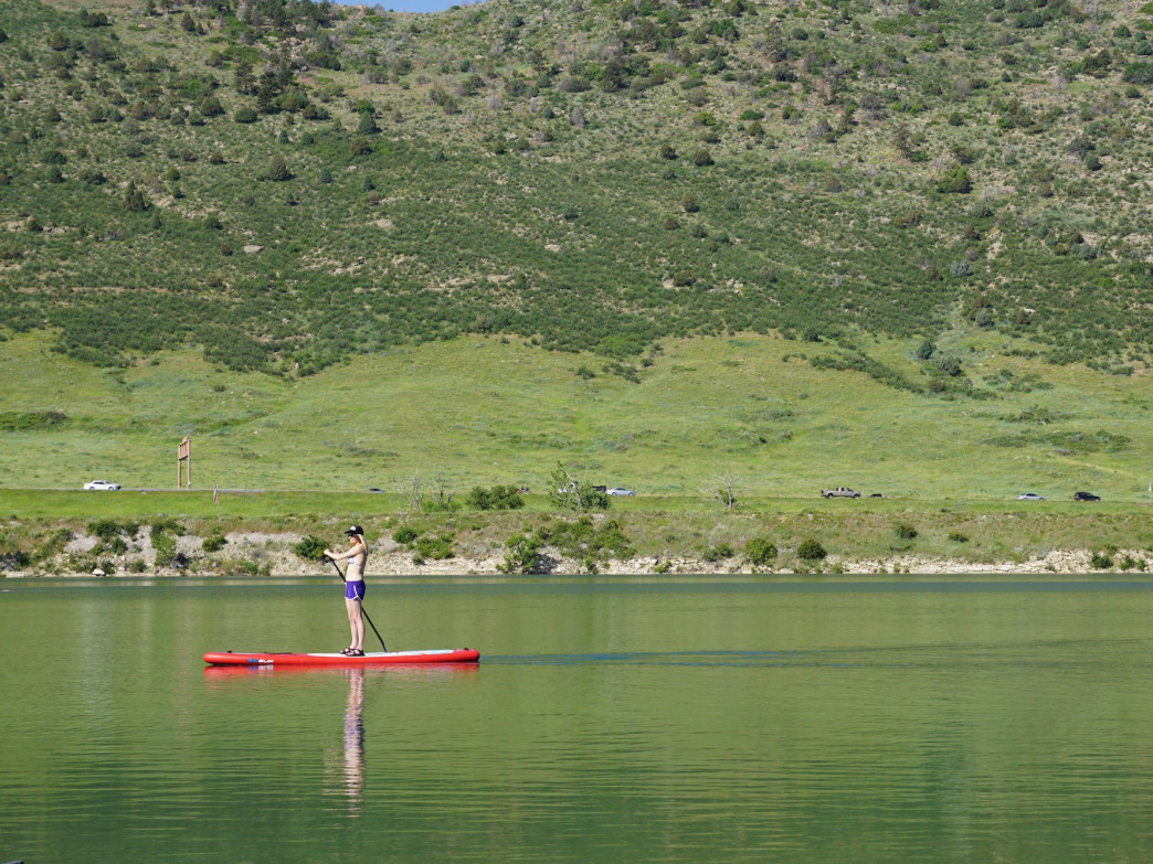 Set out in the early morning when Big Soda Lake is glassy smooth.