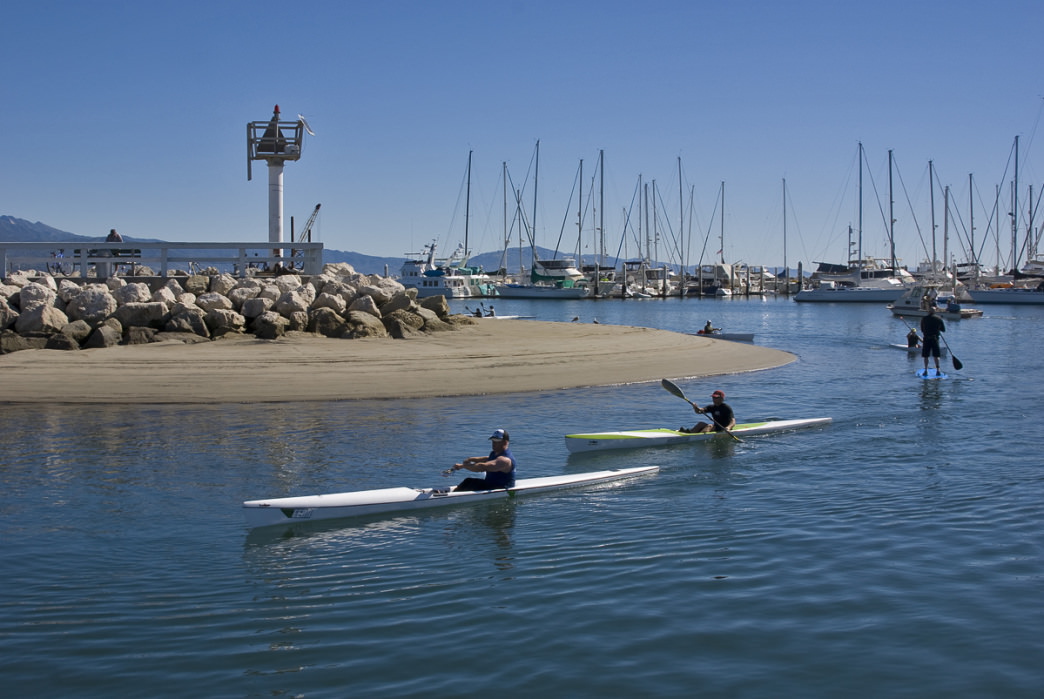 Kayaking the calm waters of Santa Barbara Harbor.