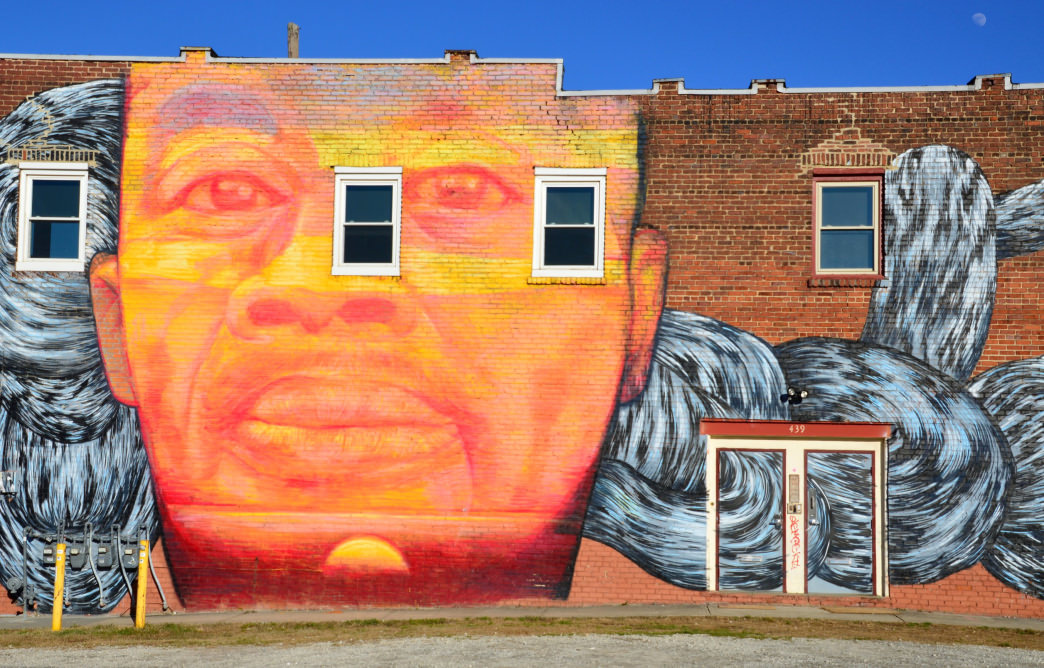 Edgewood Avenue features a number of buildings with an ever-changing landscape of artwork.