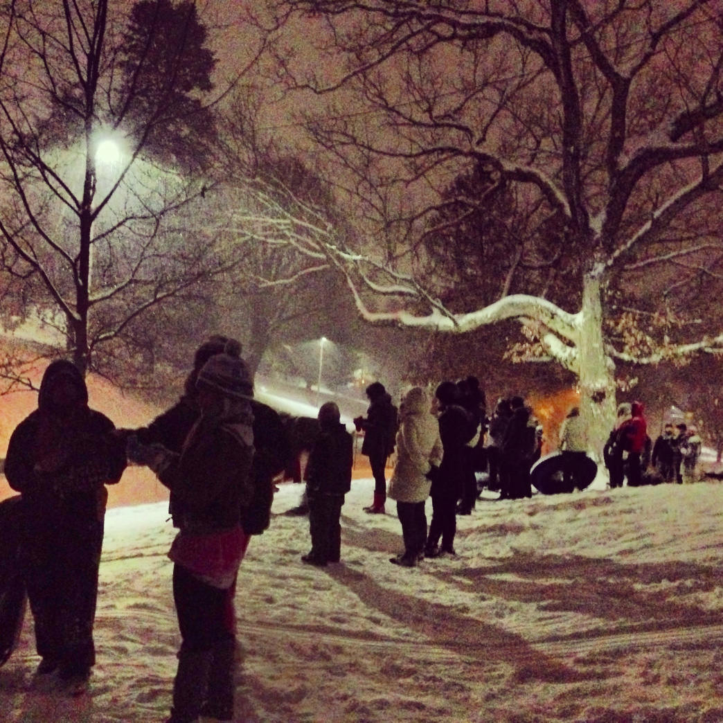 Night sledding at Montford Park.