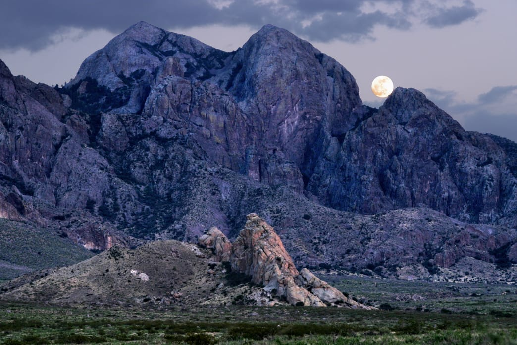 The moon rises over the Organ Mountains-Desert Peaks National Monument in New Mexico.