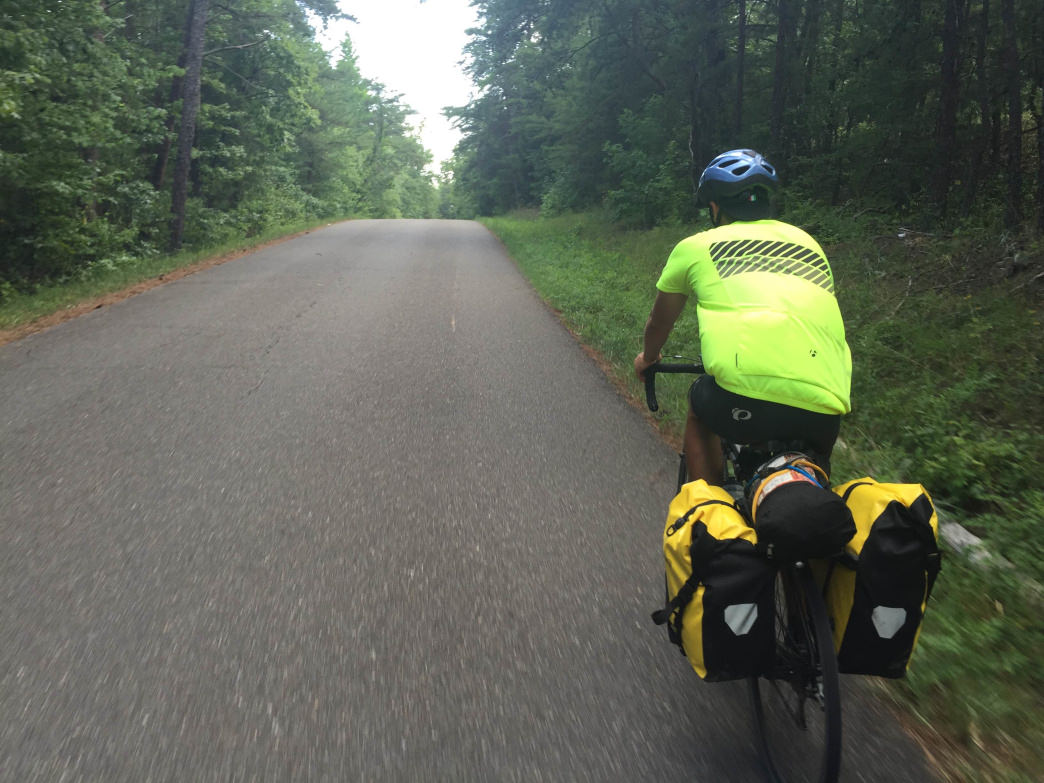 One of the cyclists on the Bankhead trip wore a high-visibility jersey.
