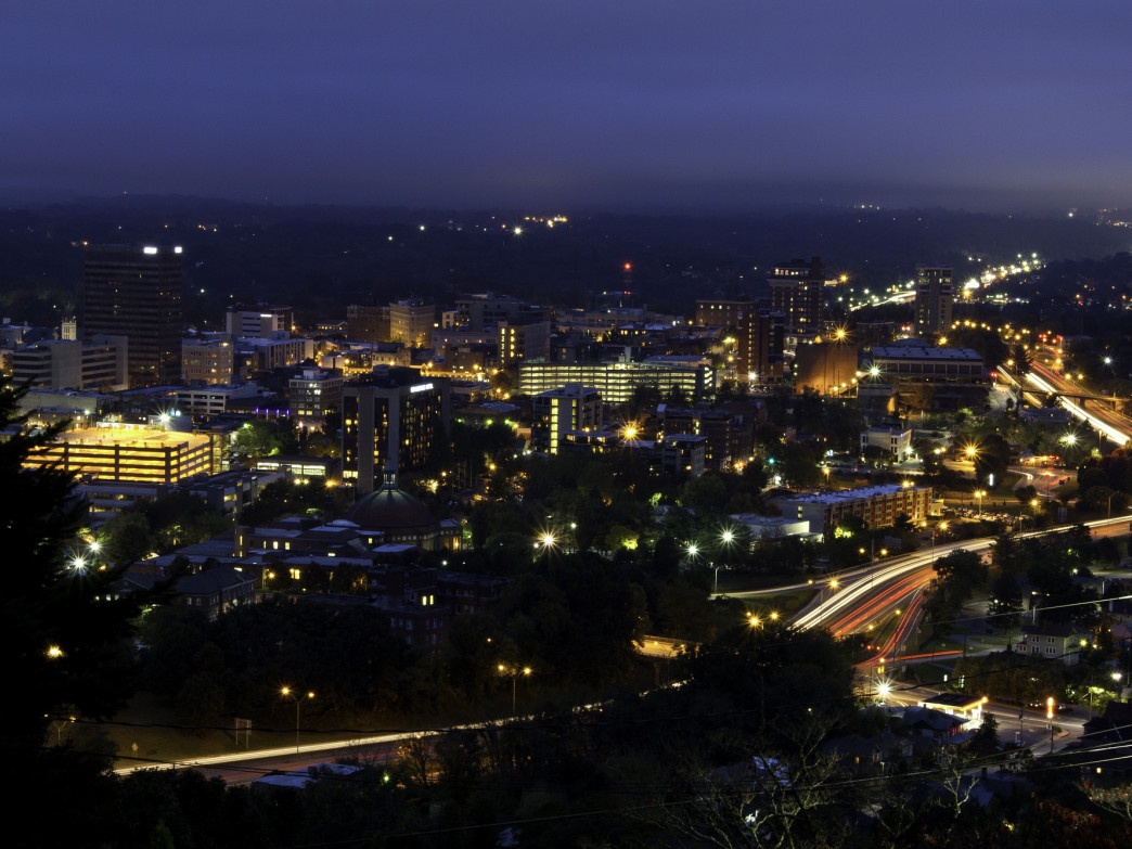 Asheville sparkles in predawn light.
