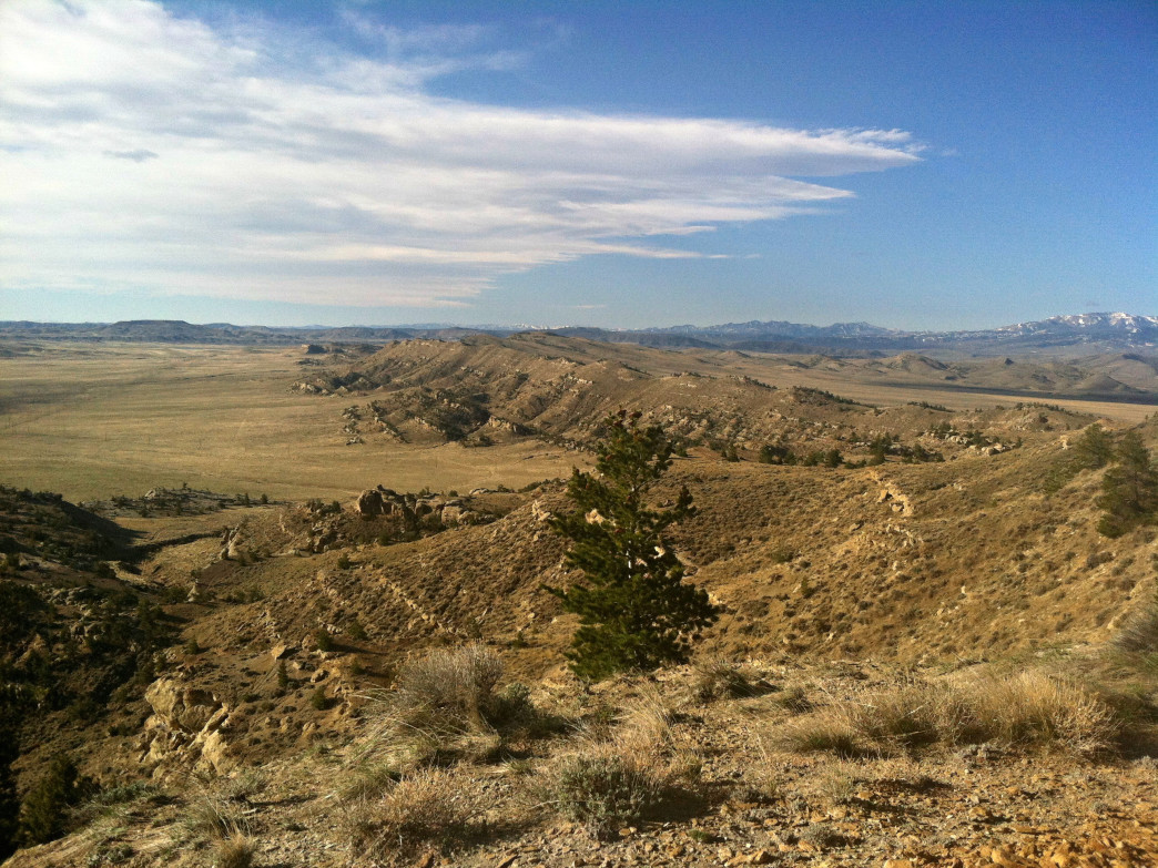 Western edge of the Big Horn Basin, where wind-free hikes are possible.