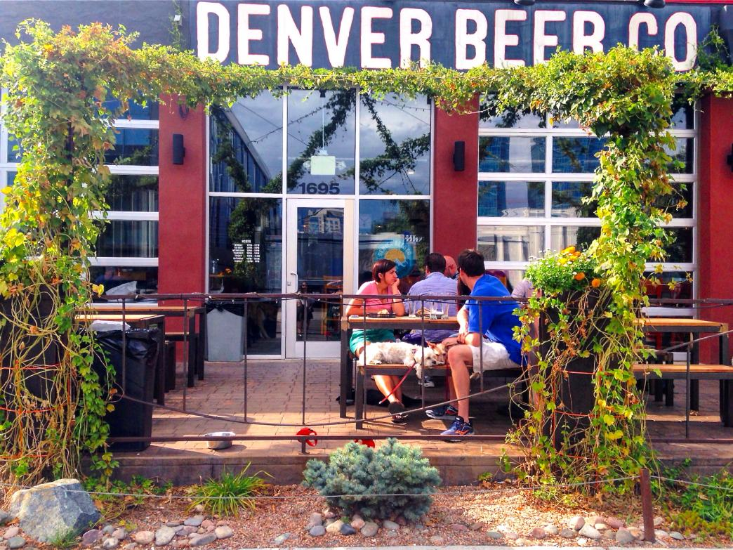 The beer garden and front entrance of Denver Beer Company