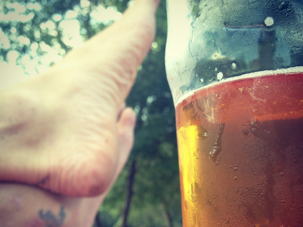 The first few sips of a well earned beer.
