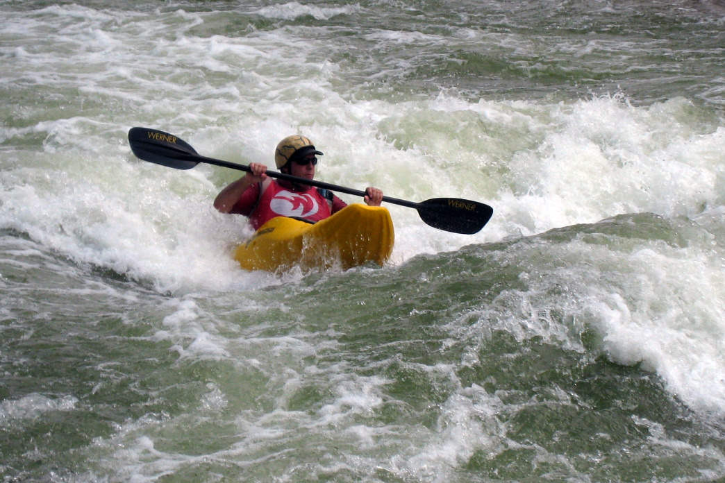 A whitewater kayaker at USNWC.