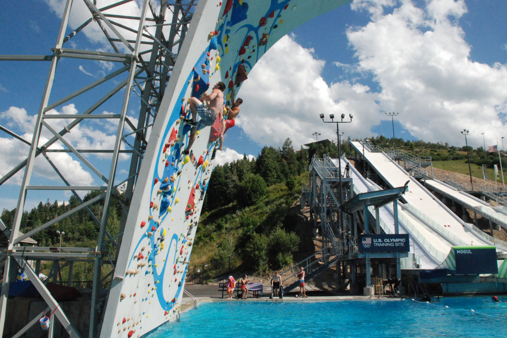 "Take on ""deep water soloing,"" in which climbers tackle the wall without protection over a pool.      Utah Olympic Park"