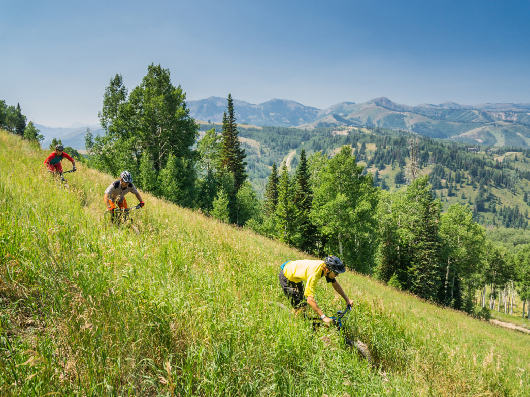 Mountain biking at Deer Valley Resort.