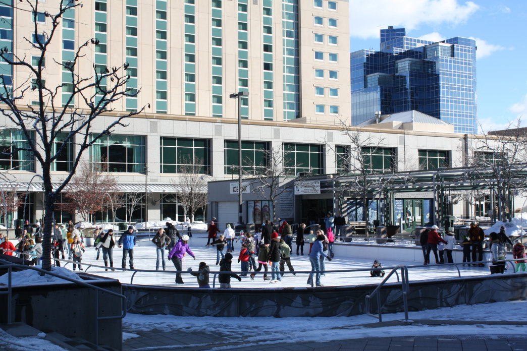 The Gallivan Center Ice Rink offers skating amid the building in downtown Salt Lake City.